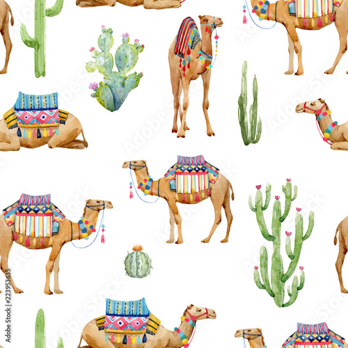 Carta da parati Watercolor camel vector pattern