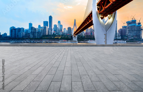 Fotobehang Praag Panoramic skyline and buildings with empty concrete square floor