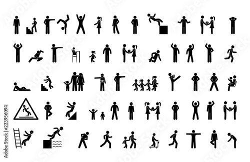 Fotografía  set of man icons, various poses and movements, silhouette figure stick, human pi