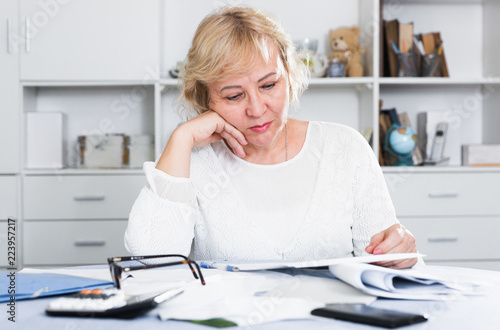Obraz na plátne  Woman engaged in home accounting