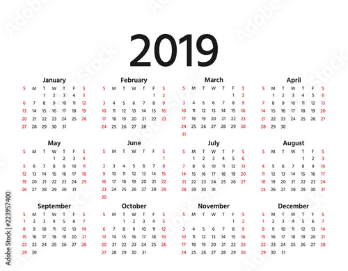 2019 calendar vector week starts sunday in minimal simple style stationery 2019 year