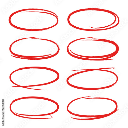Fotomural  red circles and ovals marker elements