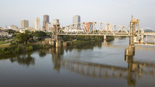 The Arkansas River Flows By Waterfront Of Little Rock The State Capitol