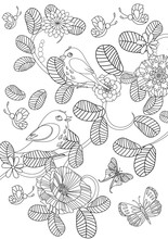 Lovely Nature Pattern With Cute Birds For Your Coloring Page
