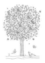 Pretty Floral Tree With Flying Butterflies For Your Coloring Boo