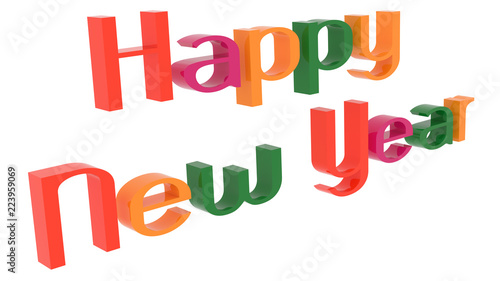happy new year words 3d rendered congratulation text with elegant