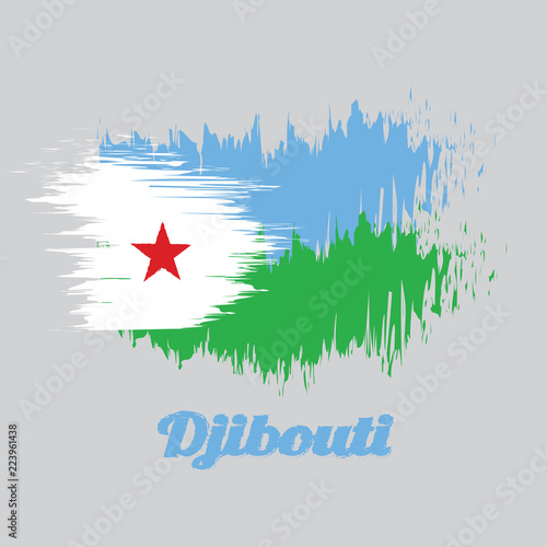 Brush style color flag of Djibouti, a horizontal light blue and ...