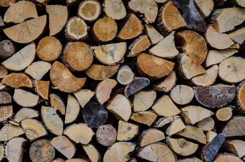 Foto op Aluminium Brandhout textuur Wooden background. Firewood drying for the winter, stacks of firewood