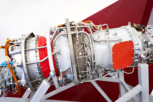 Fotografia, Obraz  Engine turboprop aircraft at exhibition