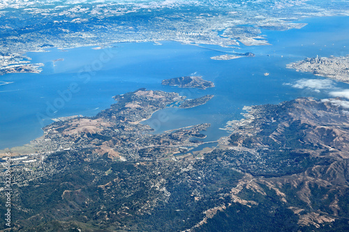 Aerial View of entire San Francisco Bay Area: Looking south towards Downtown San Francisco, Sausalito, Belvedere, Bay Bridge with Oakland in the distance Wallpaper Mural