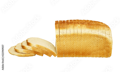 Fotomural  SINGLE LOAF OF SLICED WHITE BREAD ON WHITE BACKGROUND