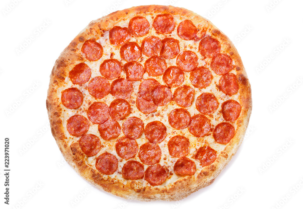 Pizza pepperoni isolated on white background