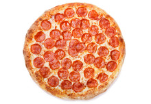 Pizza Pepperoni Isolated On Wh...