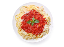 Plate Of Pasta With Tomato Sauce Isolated On White Background