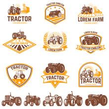 Set Of Tractor Emblems. Farmer...