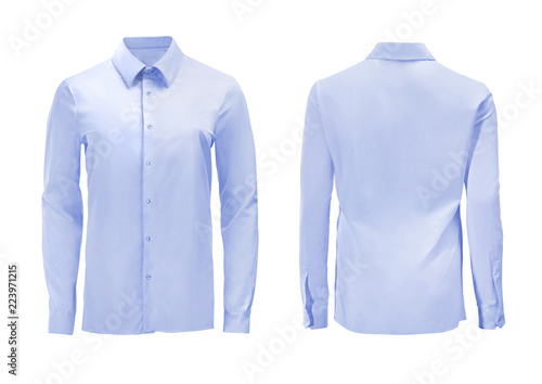Valokuva  Blue color formal shirt with button down collar isolated on white