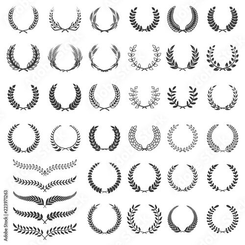 Photo  Set of laurel wreath icons