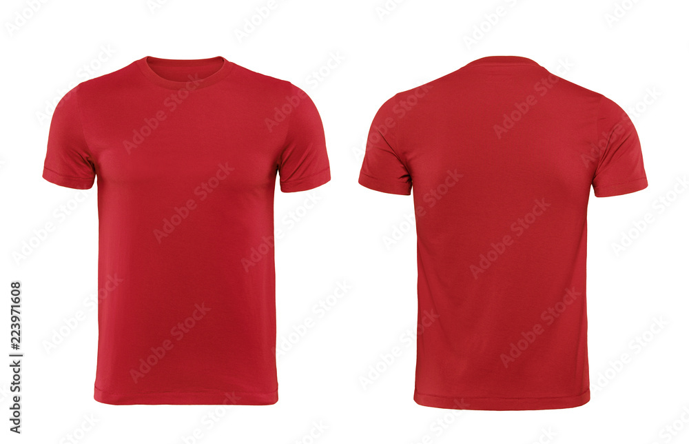 Fototapety, obrazy: Red T-shirts front and back used as design template.