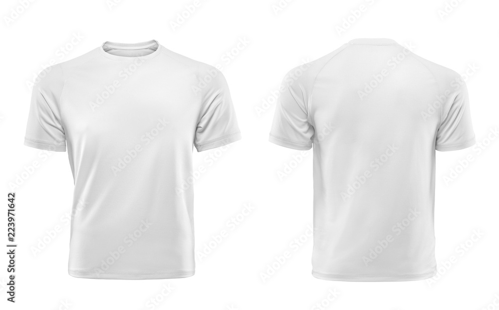 Fototapety, obrazy: White T-shirts front and back used as design template.
