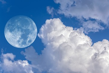 Moon collage of blue cloud sky background