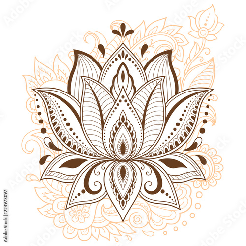 Mehndi Lotus Flower Pattern For Henna Drawing And Tattoo Decoration