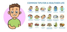 Common Healthy Lifestyle Tips. Infographics Poster With Text And Character. Colorful Flat Vector Illustration, Horizontal.