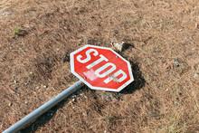 Stop Traffic Sign Hit Broken D...