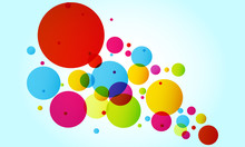 Blue Background With Multi-colored Circles