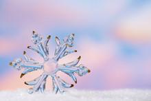 Glitter Christmas Glass Snowflake Bauble