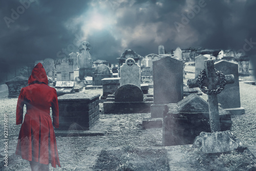 Foto auf Gartenposter Friedhof ghost on haunted cemetery