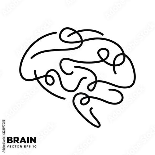 Brain Logo silhouette design vector template eps 10, Think idea concept Wall mural
