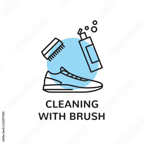 Vector Sneaker Cleaning Logo Design Template