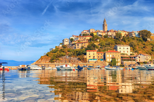 Croatian town Vrbnik during sunset, seascape view