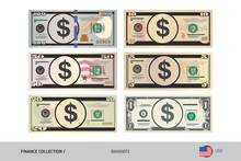 US Dollar Banknote Set. Flat S...