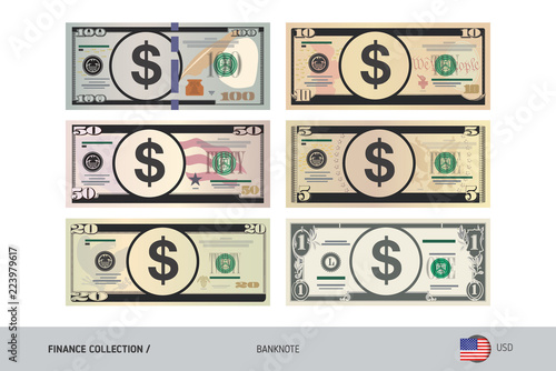 US Dollar Banknote set. Flat style highly detailed vector illustration. Isolated on white background. Suitable for print materials, web design, mobile app and infographics.
