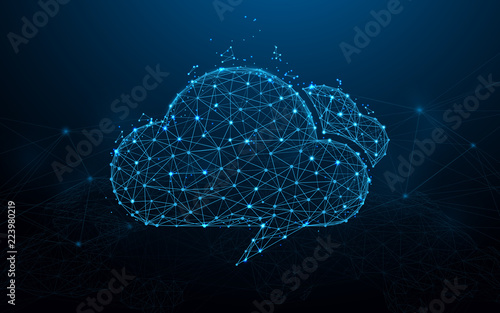 Cloud computing form lines, triangles and particle style design. Illustration vector - fototapety na wymiar