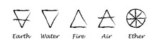 Ether. Air. Earth. Fire. Water. Alchemy Vector Icons. Vector Illustration