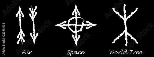 Air  Space  World Tree  Alchemy vector icons  Slavic amulets symbols
