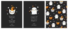 Cute Hand Drawn Halloween Cards And Pattern. Little White Ghost On A Black Background. White Hand Written Ghost Party, Happy Halloween And Trick Or Treat. Funny Cat In A Hat. Ghosts And Cats Pattern.