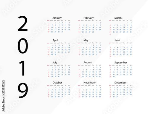 2019 New Year Calendar On 2019 Year Template Calendar 2019 Year