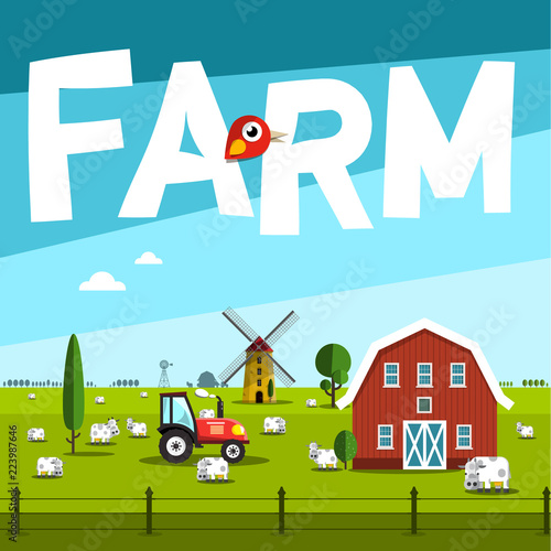 Photo Stands Turquoise Farm Vector Illustration with Barn and Tractor