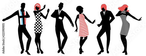 Tela Elegant silhouettes of people wearing clothes of the sixties dancing 60s style i