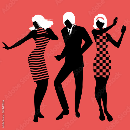 Elegant silhouettes of people wearing clothes of the sixties dancing 60s style o Canvas Print