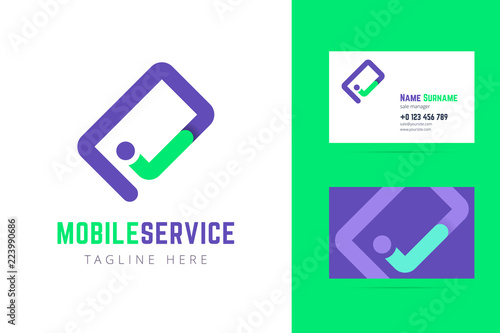 Mobile Service Logo And Business Card Template Acheter Ce Vecteur