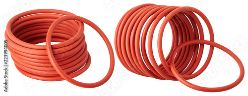 Fotomural Set of orange hydraulic and pneumatic o-ring seals isolated on a white background