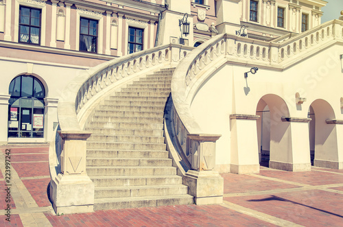 Foto op Aluminium Oude gebouw Semi-circular staircase in an ancient castle
