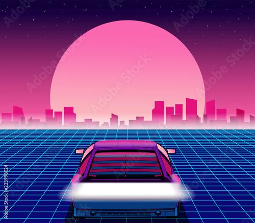 Fototapeta Retro future. 80s style sci-fi background with supercar. Futuristic retro car. Vector retro futuristic synth illustration in 1980s posters style. Suitable for any print design in 80s style obraz na płótnie