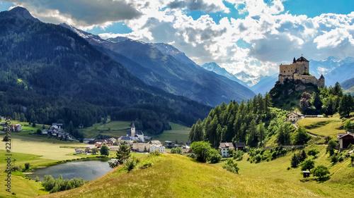 Fotografie, Obraz Mountains surrounding Tarasp, a village in the canton of Graubunden, Switzerland