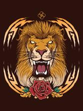 Lion Head With Heraldic Backgr...