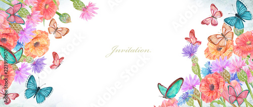Poster de jardin Papillons dans Grunge banner with lovely summer flowers and butterflies. watercolor painting